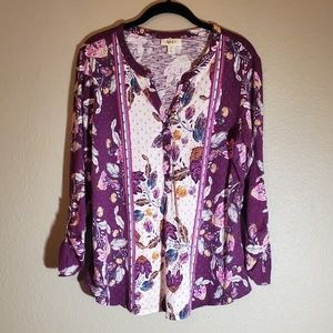 Style & Co Floral Print Henley Top